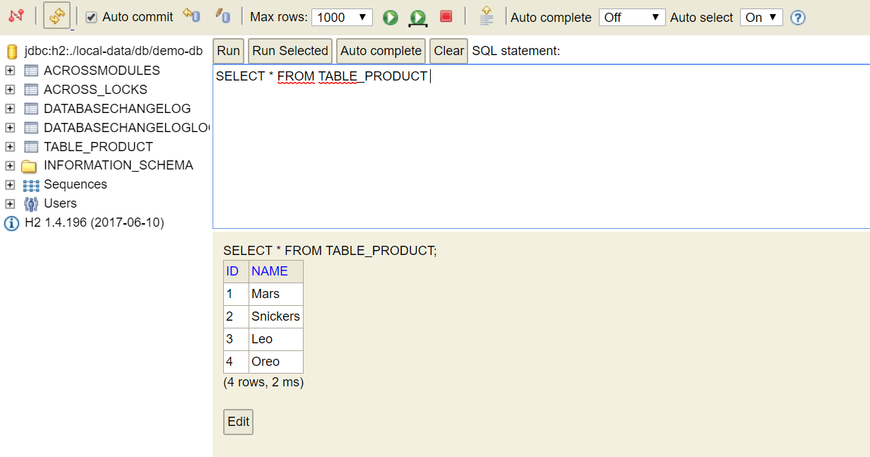 Initializing application data - Across